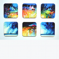 Six Piece Coaster set No.4 of Paintings by Martin Oates (free p.p. U.K.)