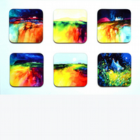 Four Piece Coaster set No.5 of Paintings by Martin Oates (free p.p. U.K.)