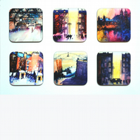 Four Piece Coaster set No.2 of Paintings by Martin Oates (free p.p. U.K.)