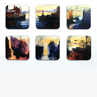 Six Piece Coaster set No.6 of Paintings by Martin Oates (free p.p. U.K.)