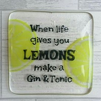 Gin & Tonic Fused Glass Coaster
