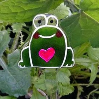 Fused Glass Frog Garden Stake,  Garden Decorations, Garden Ornament, plants pot