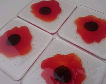 Fused Glass Poppy Coasters, Handmade, Glass Tiles, flowers