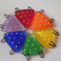 Mini Fused Glass Rainbow Bunting, garden or home decor, desk decoration