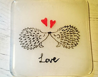 Fused Glass Hedgehog Love Coaster, Valentines day, Anniversary,