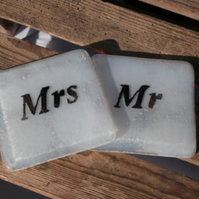 Fused Glass Mr & Mrs Coasters