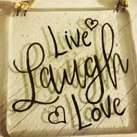 Live, Laugh, Love  - Fused Glass Hanging Quote, Gift for loved one. Family Love