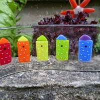 Fused Glass Freestanding Beach Hut Wave, Rainbow, spots , seaside, bright colour