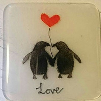 Fused Glass Penguin Love Coaster, Valentines day, Anniversary, gift,