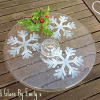 Fused Glass Snowflake Cake Stand