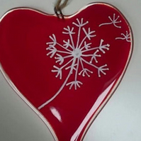 Fused Glass Hanging Dandelion Heart