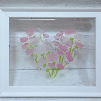 Fused Glass Heart of Flowers Framed Picture, Valentines Day, Mothers Day, Gift,