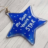 You're a Star Fused Glass Hanging Star, Personalised with name