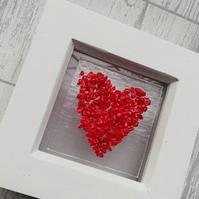 Textured Fused Glass Heart Picture Frame, Valentines Heart, Anniversay,