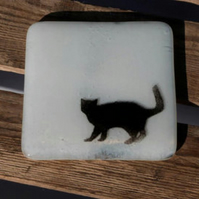 Fused Glass Cat Coaster, Glass Tile, Cat