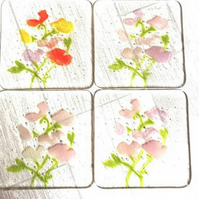 Fused Glass Sweet pea Flower Coasters
