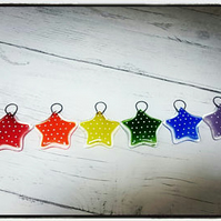 Fused Glass set of 6 Rainbow Spotty Star Decorations,tree decorations