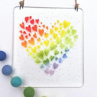 Fused Glass Heart of Heart Rainbow Wall Hanger