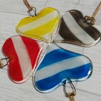 Fused Glass Heart Hanger Stripyor Plain or Spotty