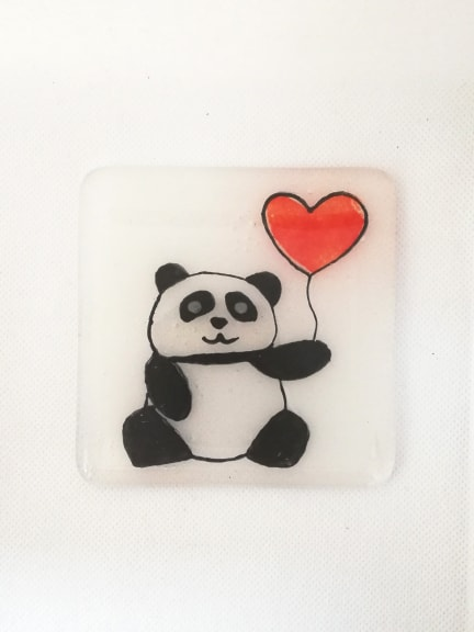 Panda Coaster with Red Balloon Heart - Valentines Gift