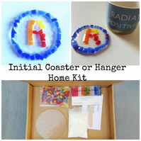 Fused Glass Initial Coaster or Hanger Home Kit, suitable for all ages