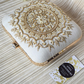 Ivory Square Hand embroidered clutch bag