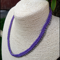 Purple necklace, bright rustic jewellery, festival style crotchet accessory,
