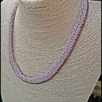 Oatmeal necklace, boho crochet on bronze chain, simple style easy wear jewellery