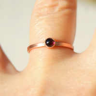 Copper and garnet ring, Stacking Ring, Gemstone Ring