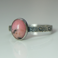 Rhodonite Sterling Silver Ring, Natural Gemstone Ring, Pink Stone Ring