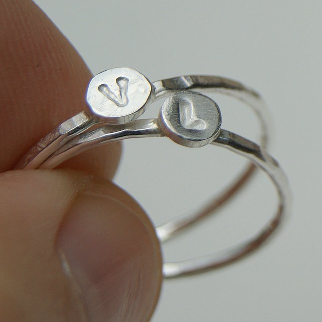 initial ring, sterling silver personalized ring, stackable ring, letter ring