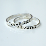 Set of 2 Silver Stacking Rings, 2mm Hand Stamped Bands