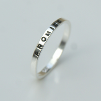 2mm Hand Stamped Band, Silver stacking ring