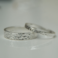 Set of 2 sterling silver rings, Wedding bands, Couple matching rings