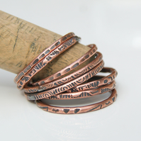 Set of 8 copper stacking rings, Oxidised thin copper rings