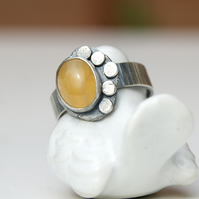 Ring size Q, READY TO SHIP, Yellow Aragonite silver ring