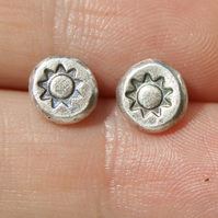 Sun Stud Earrings, Organic Silver Studs