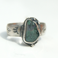 Green Moss Agate Ring, Sterling Silver Ring Size 7.5 Rustic Jewellery, Boho Ring