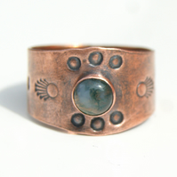 Moss Agate Copper Ring, Rustic Copper Jewellery, Natural Gemstone