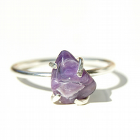 Amethyst Silver Ring Size Q.5 or 8.25, Delicate Purple Ring