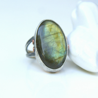 Large Labradorite Ring in Sterling Silver and Copper, Ring Size P