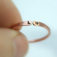copper initial ring, personalised ring, stackable ring, letter ring