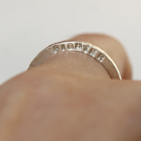 Personalised 2mm square ring, Sterling silver band, Hand stamped jewellery