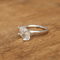 Delicate Crystal Quartz Ring, Sterling Silver Stacking Ring, Pinky Ring