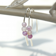 Sterling Silver Drop Earrings, Pink Frosted Agate Earrings