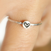 Sterling Silver Heart Ring, Love Ring, Stacking Ring