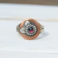 Garnet Mixed Metal Ring Size 7.5  or O.5, Leaf Silver and Copper Ring