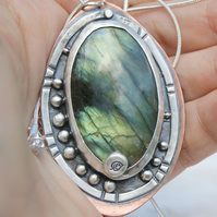 Large Labradorite Pendant, Sterling Silver and Copper Necklace, Leaf