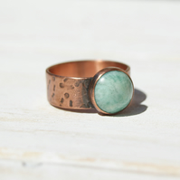 Copper Ring Size P.25 or 7.75, Green Gemstone Ring, Russian Amazonite Ring