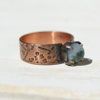Green Moss Agate Ring, Pure Copper Ring Size Q.5 ,Boho Ring